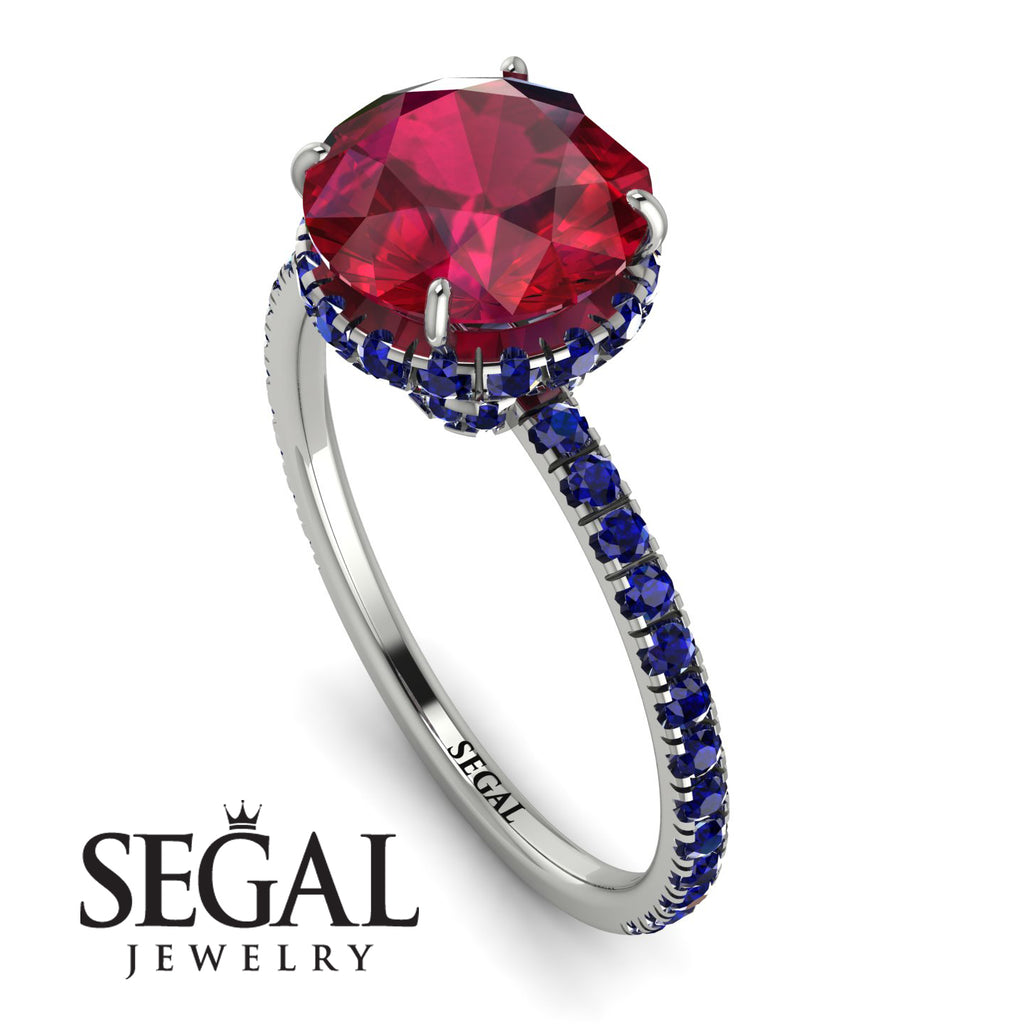2ct Hidden Halo Ruby Engagement Ring - Adaline No. 72