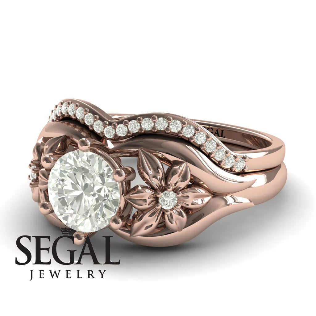 Two Seasons Bridal Set Flower Ring Diamond Ring- Bella no. 2