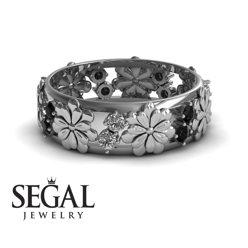 Circle Of Flowers Black/White Diamond Ring- Aria no. 12