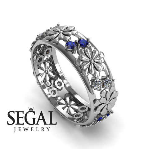 Anniversary ring 14K White Gold Flowers Antique Ring White diamond With Sapphire - Aria