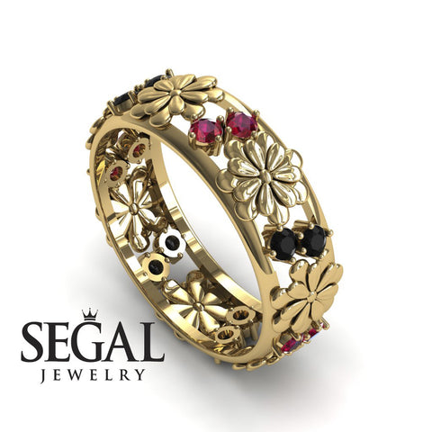 Anniversary ring 14K Yellow Gold Flowers Antique Ring Black Diamond With Ruby - Aria