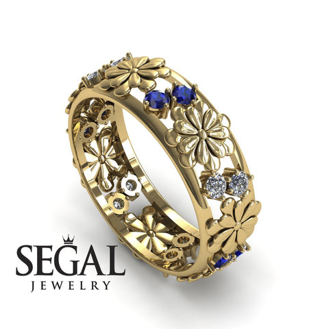 Anniversary ring 14K Yellow Gold Flowers Antique Ring White diamond With Sapphire - Aria