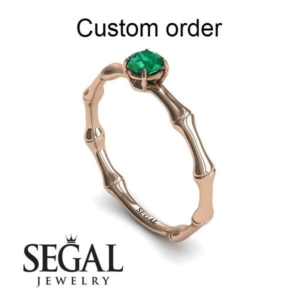 Kaylen Solitaire Bamboo Green Emerald Custom order ring- Charlotte no. 14