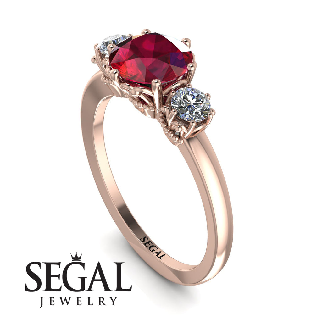 Classic 3 Stone Ruby Engagement Ring - Sofia No. 11