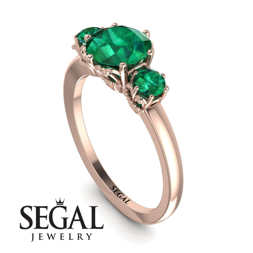 Classic 3 Stone Emerald Engagement Ring - Sofia No. 20