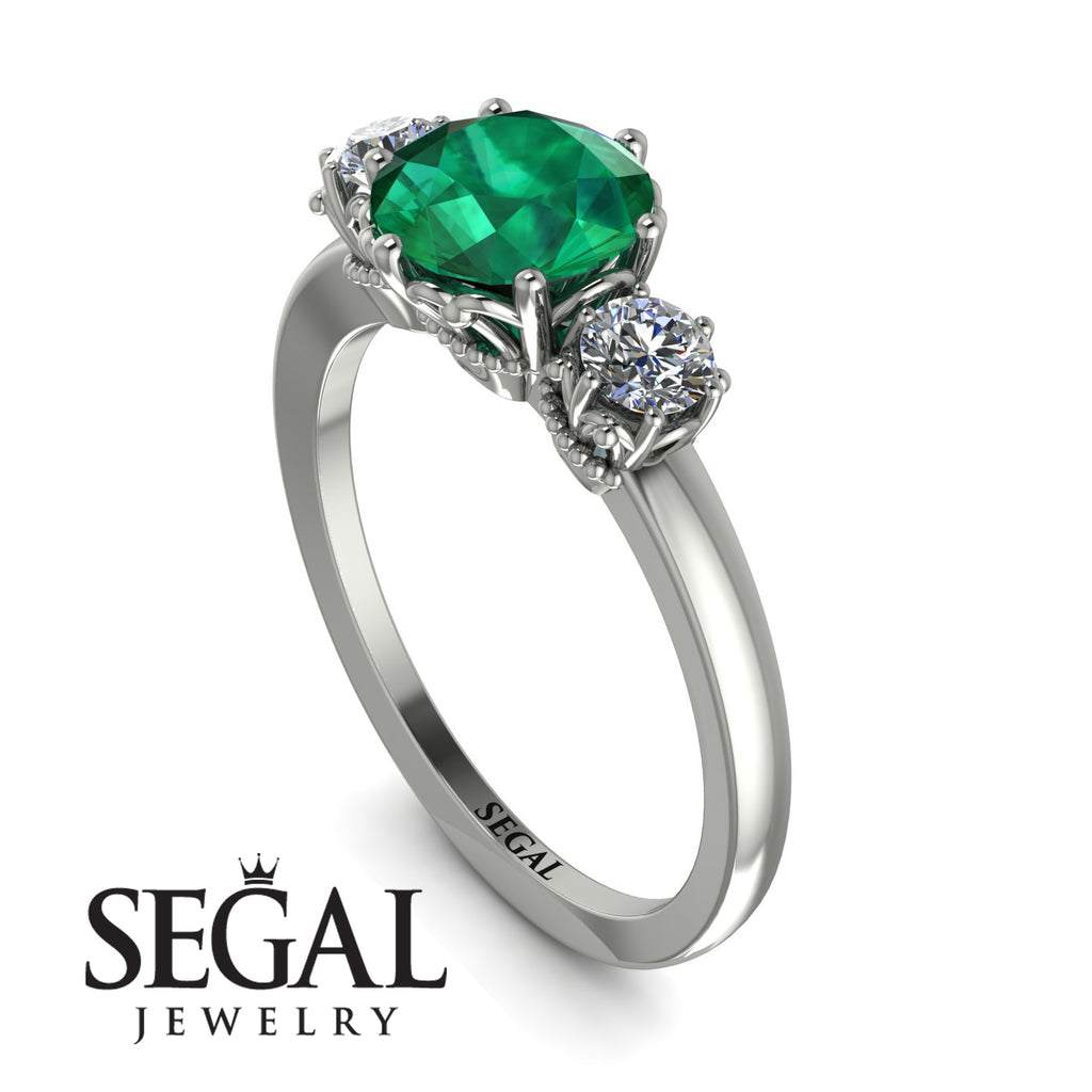 Classic 3 Stone Emerald Engagement Ring - Sofia No. 6