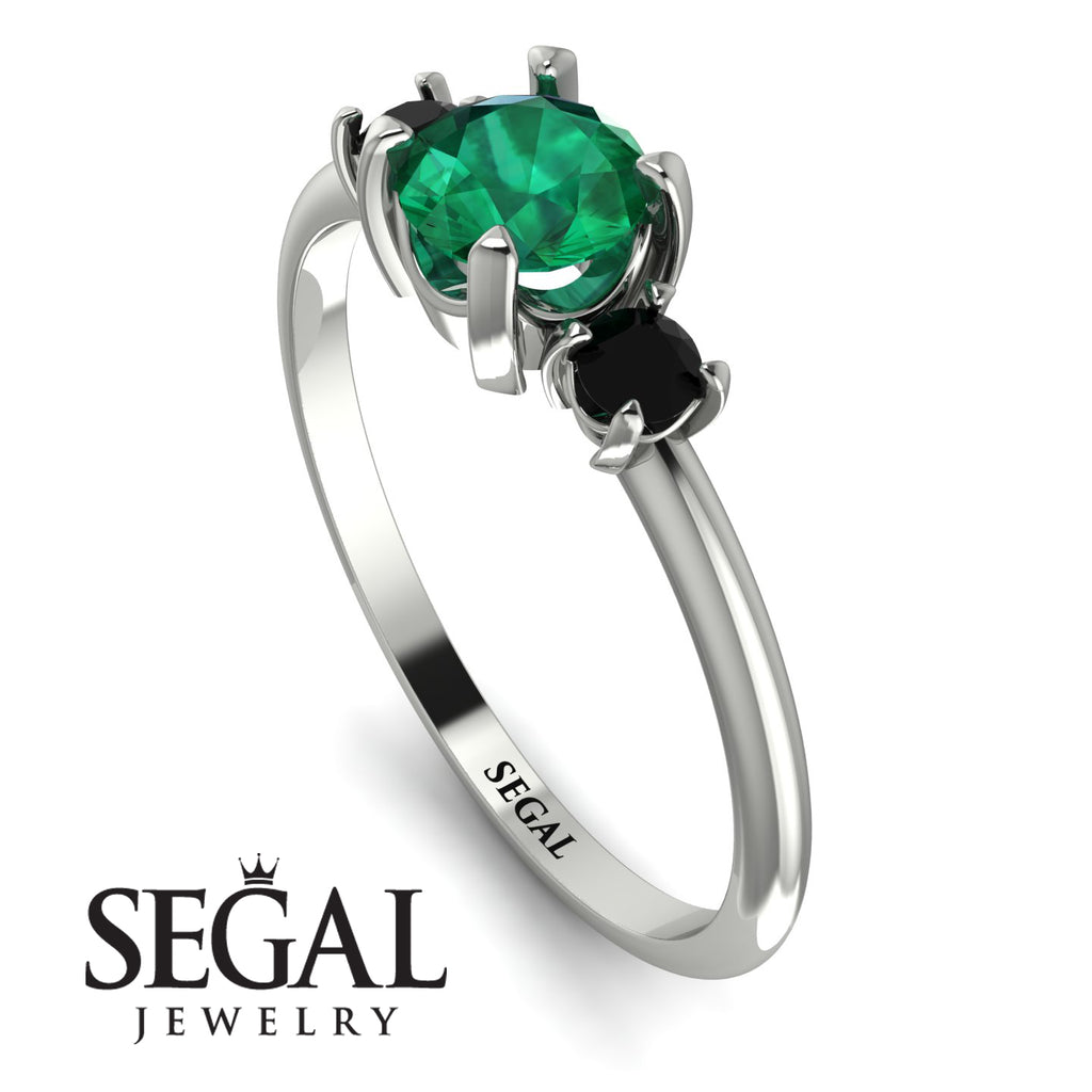 Classic Three Stone Emerald Engagement Ring - Valentina No. 36