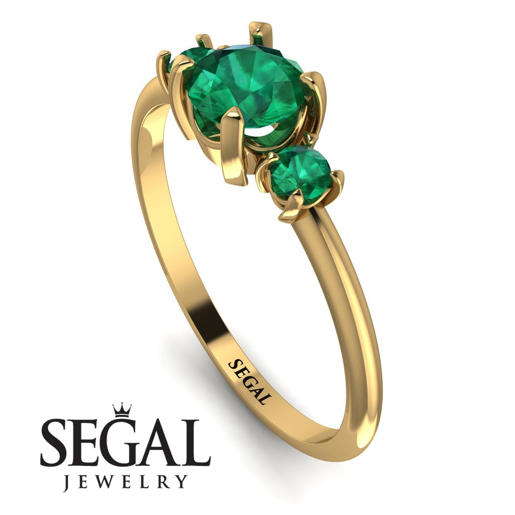 Classic Three Stone Emerald Engagement Ring - Valentina No. 19