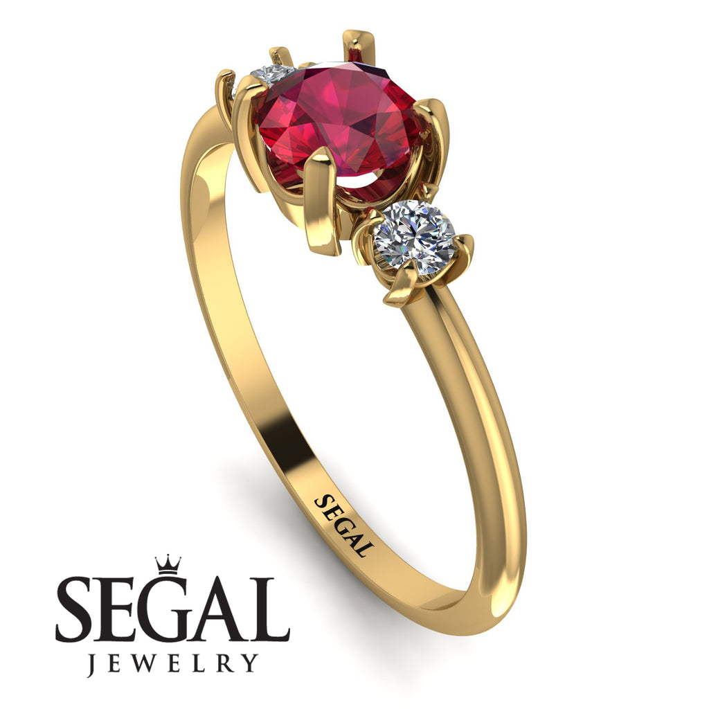 Classic Three Stone Ruby Engagement Ring - Valentina No. 10