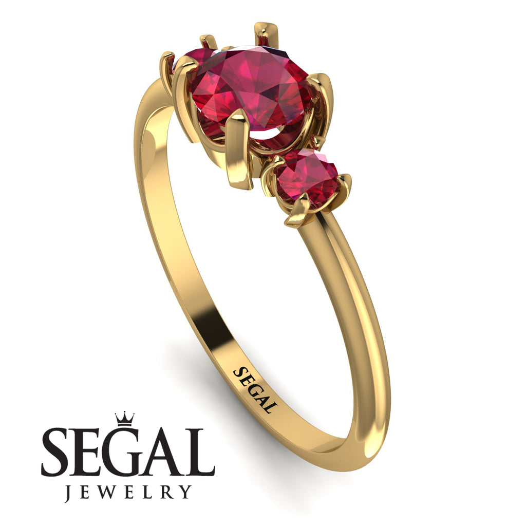 Classic Three Stone Ruby Engagement Ring - Valentina No. 55