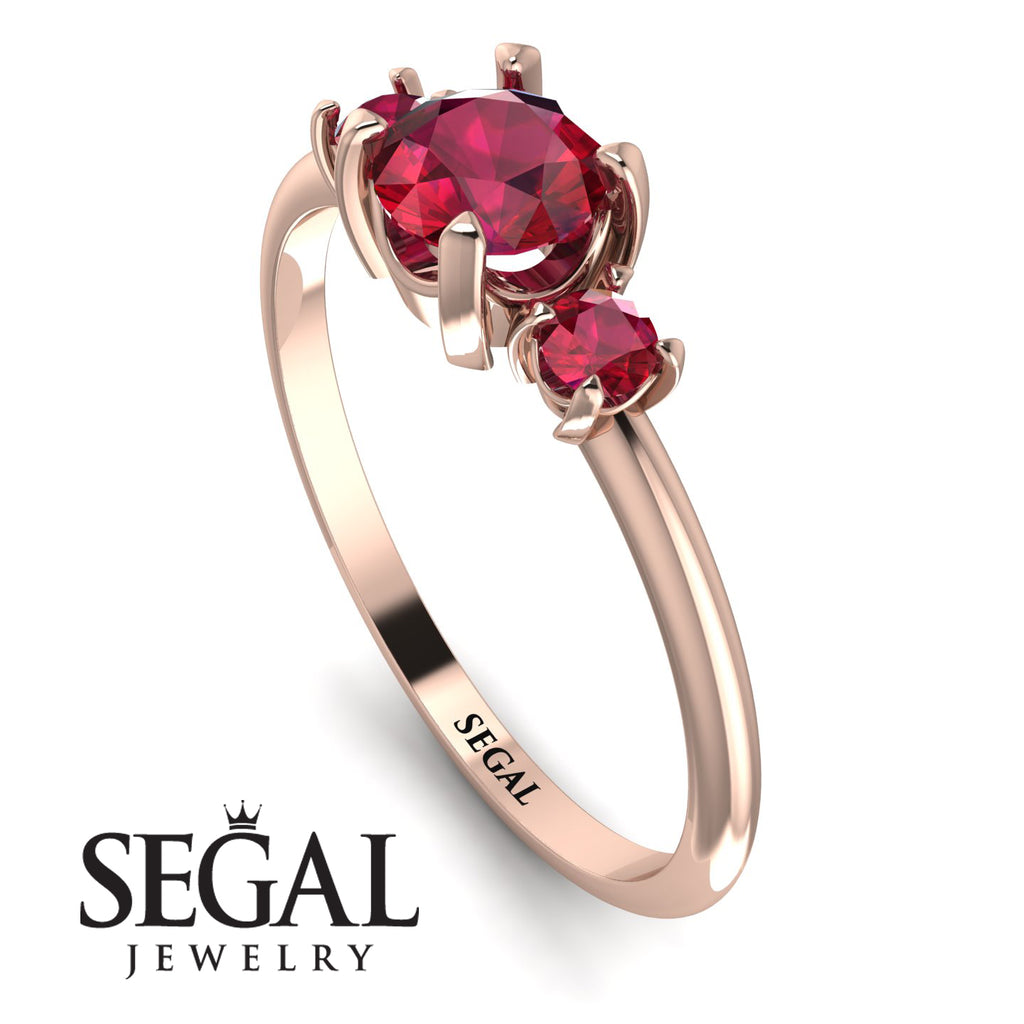Classic Three Stone Ruby Engagement Ring - Valentina No. 56