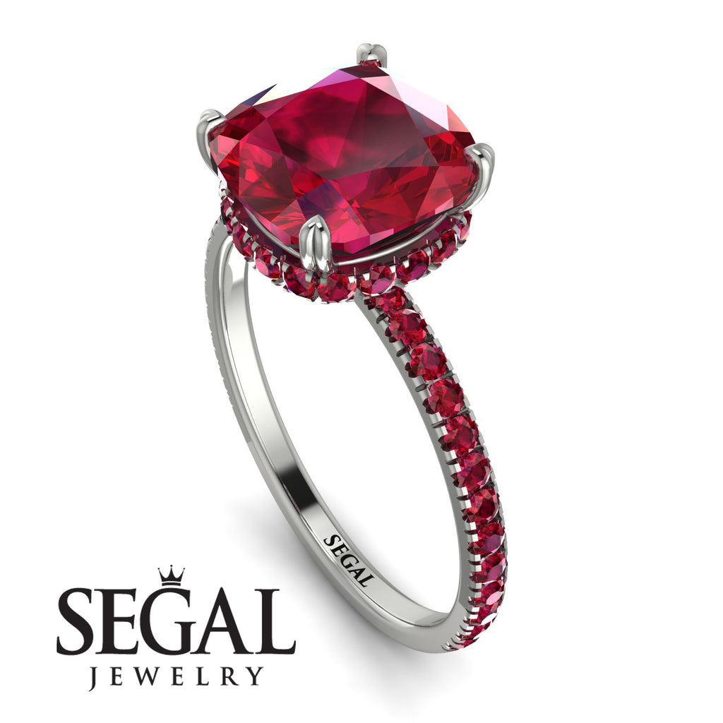 Cushion Hidden Diamond Ruby Ring - Nova No. 57