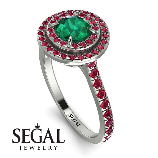 Double Halo Emerald Ring