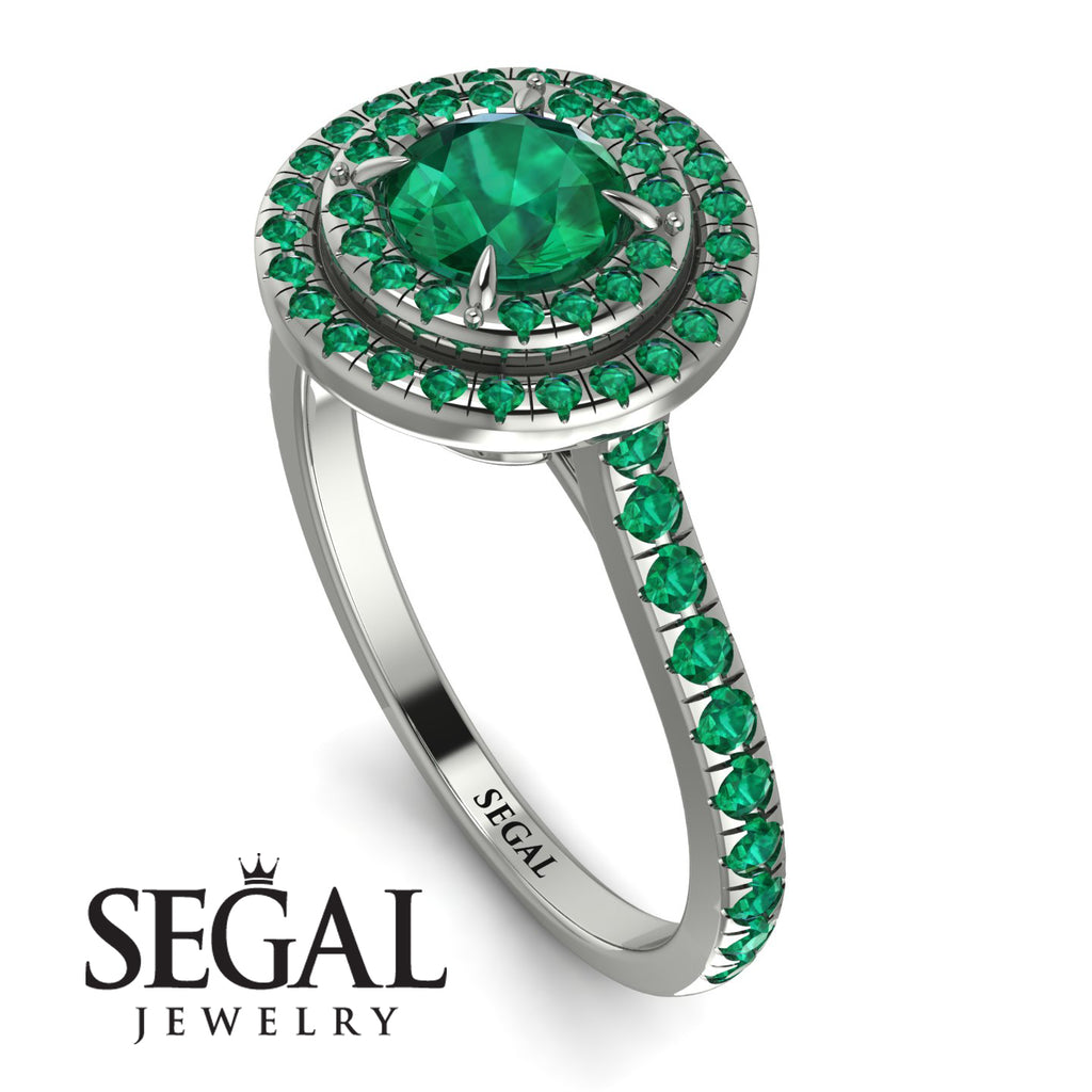 Double Halo Emerald Ring - Zoey No. 24
