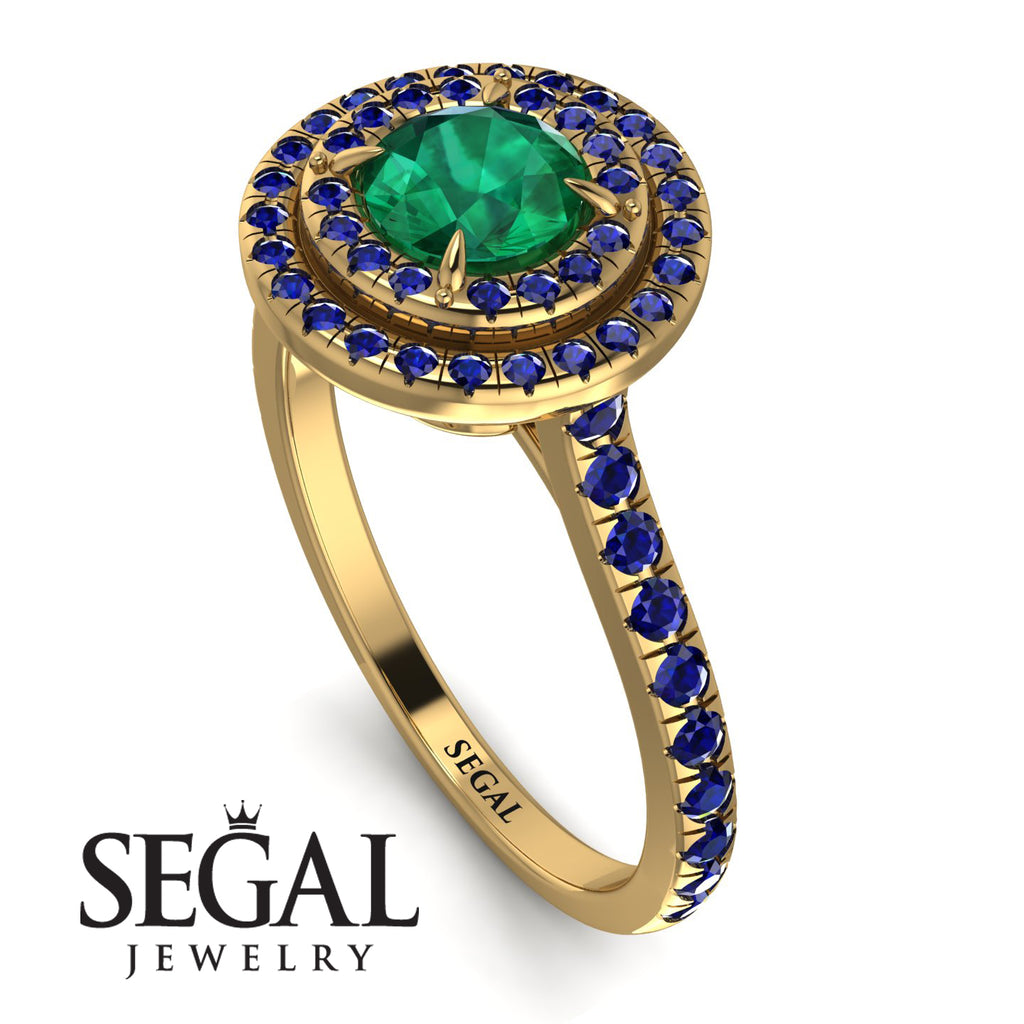 Double Halo Emerald Ring - Zoey No. 67