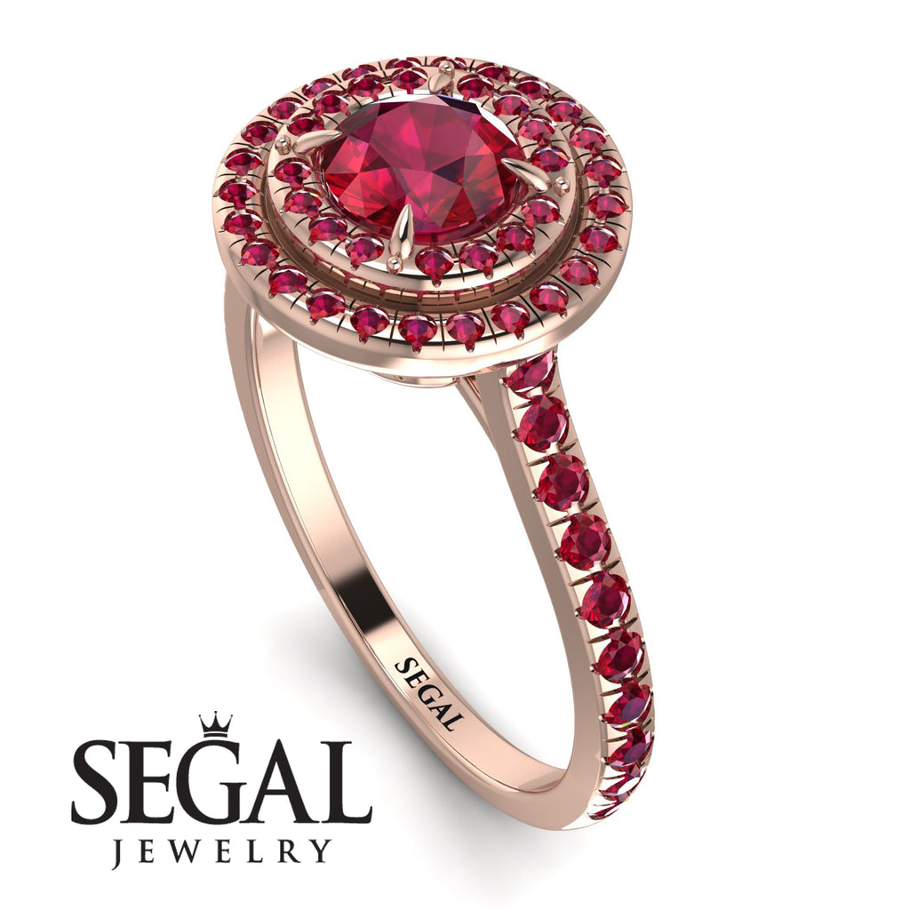 Double Halo Ruby Ring - Zoey No. 56