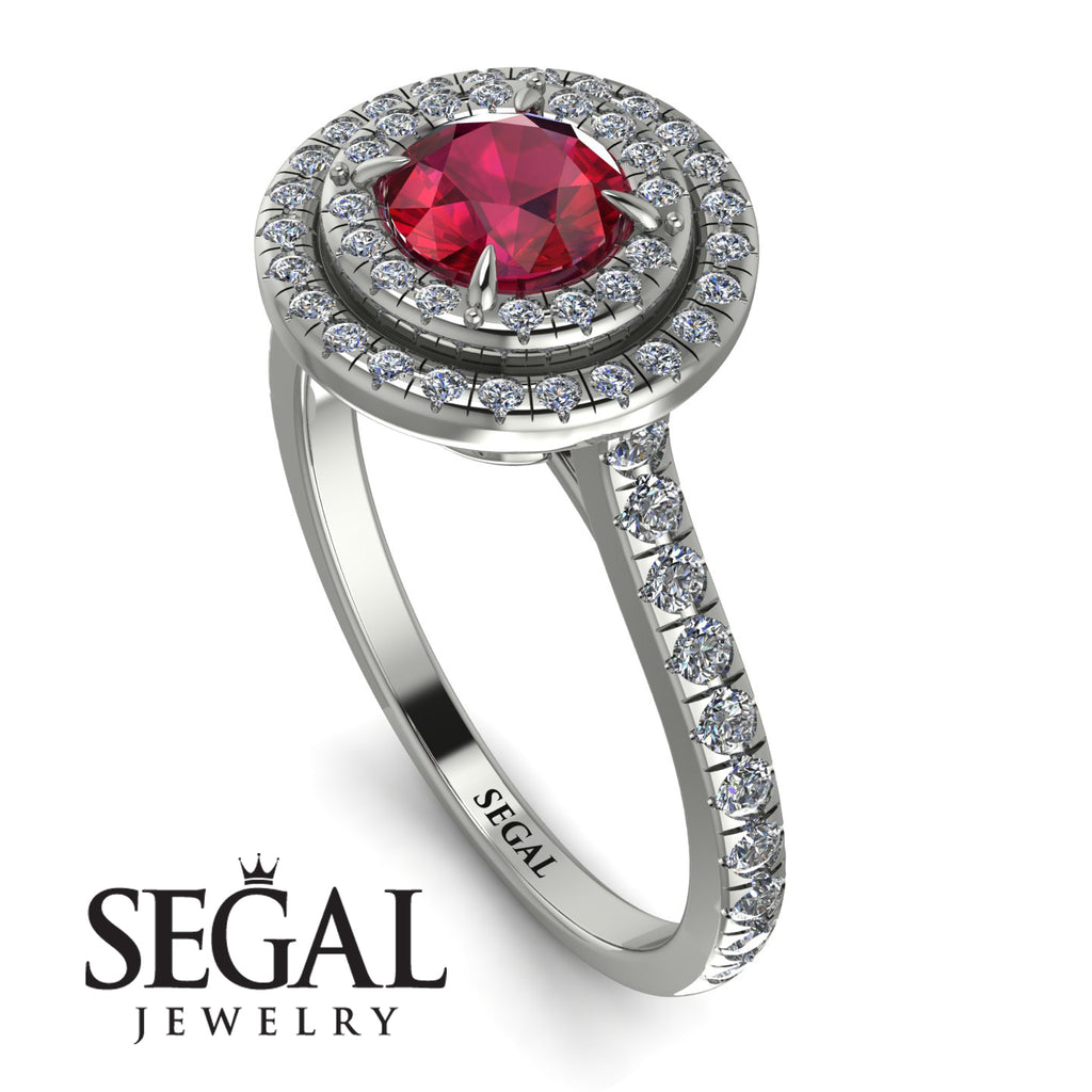 Double Halo Ruby Ring - Zoey No. 12