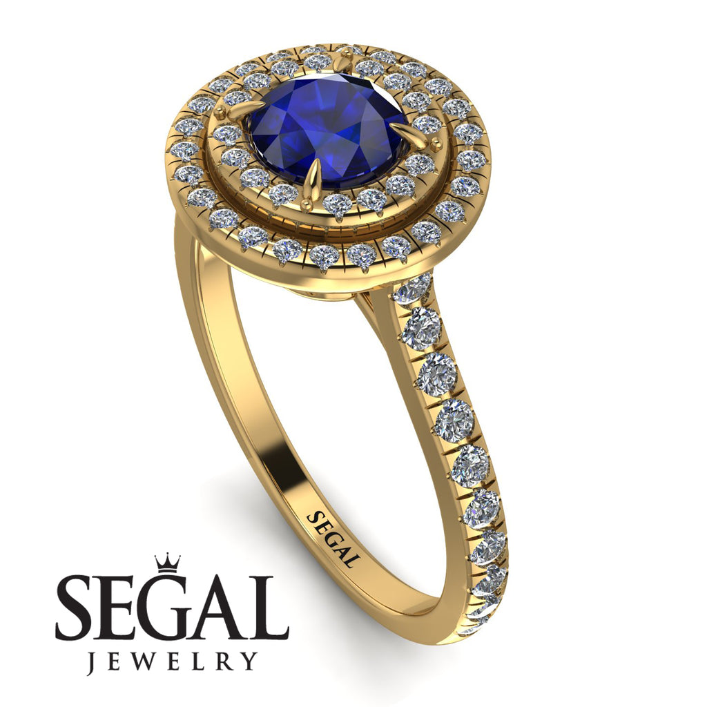 Double Halo Sapphire Ring - Zoey No. 13