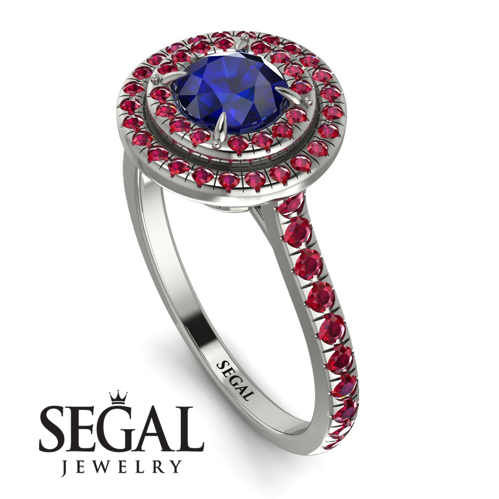 Double Halo Sapphire Ring - Zoey No. 60