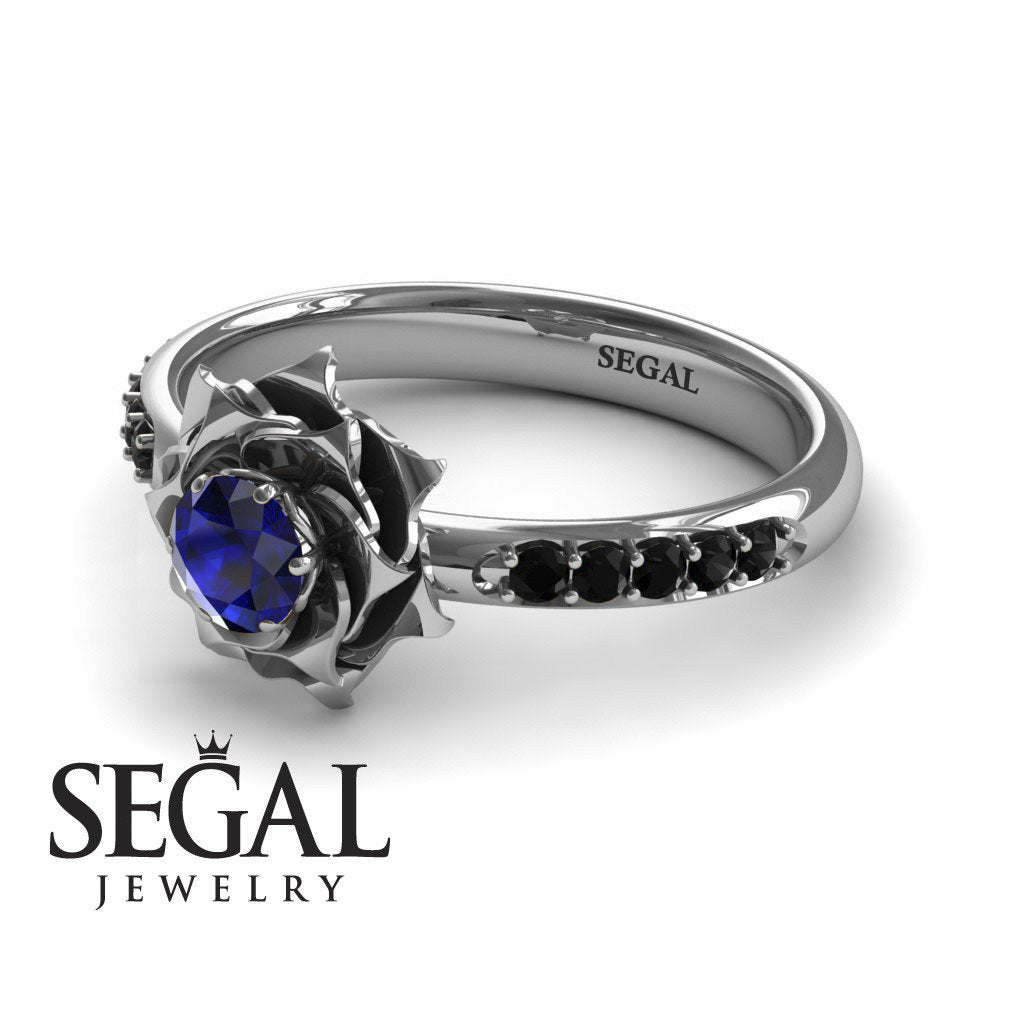 A lady's Rose Blue Sapphire with Black Diamonds Ring- Elena no. 19