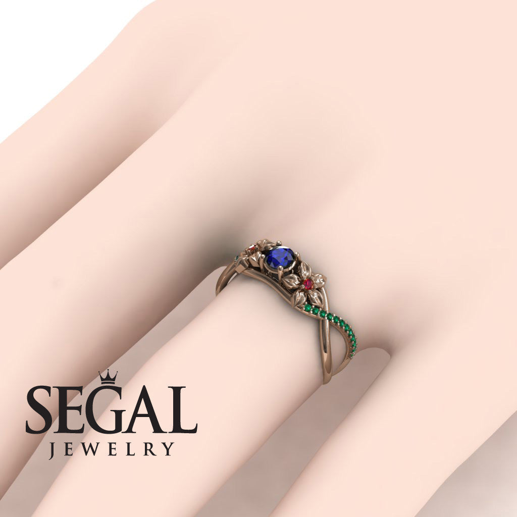 The Swift Flowers Blue Sapphire Ring- Charlie no. 8