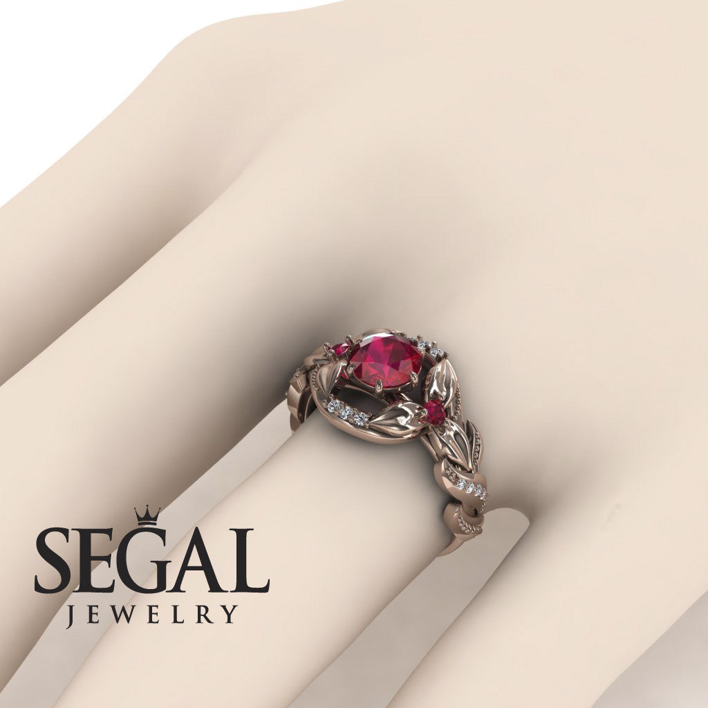 Leaf Flower Engagement Ring - Isabelle no. 5