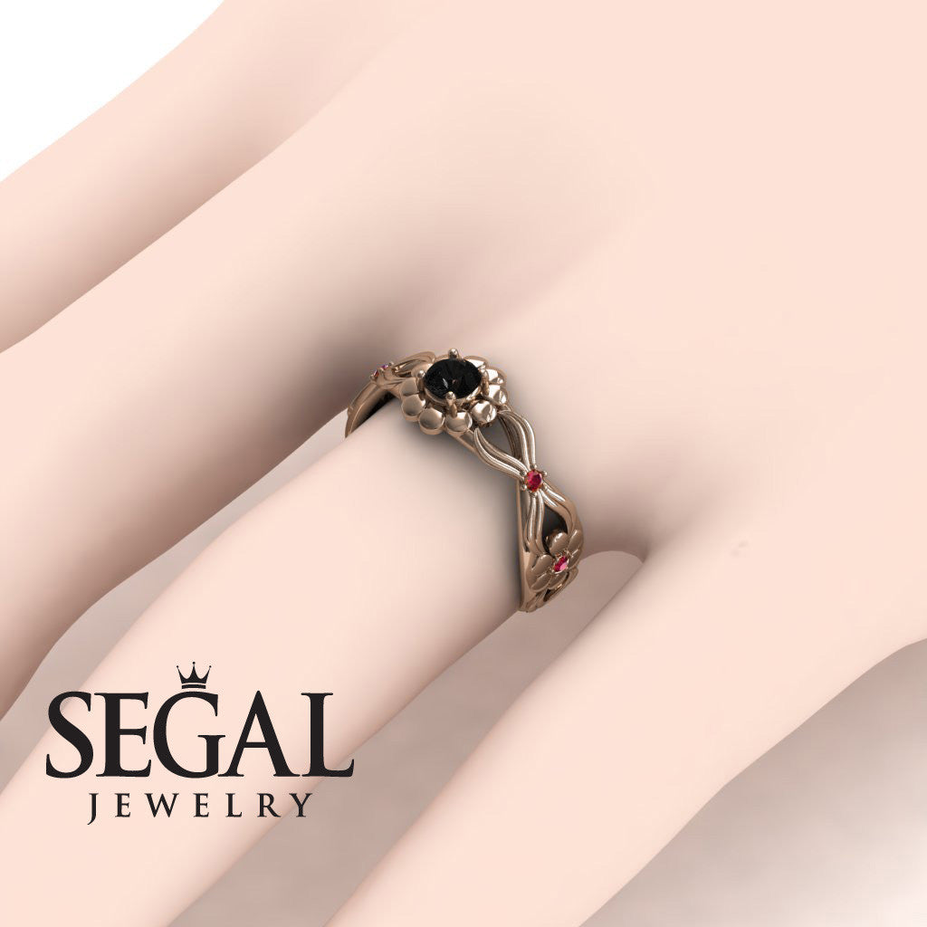 East And West flowers Black Diamond Ring- Mila no. 11