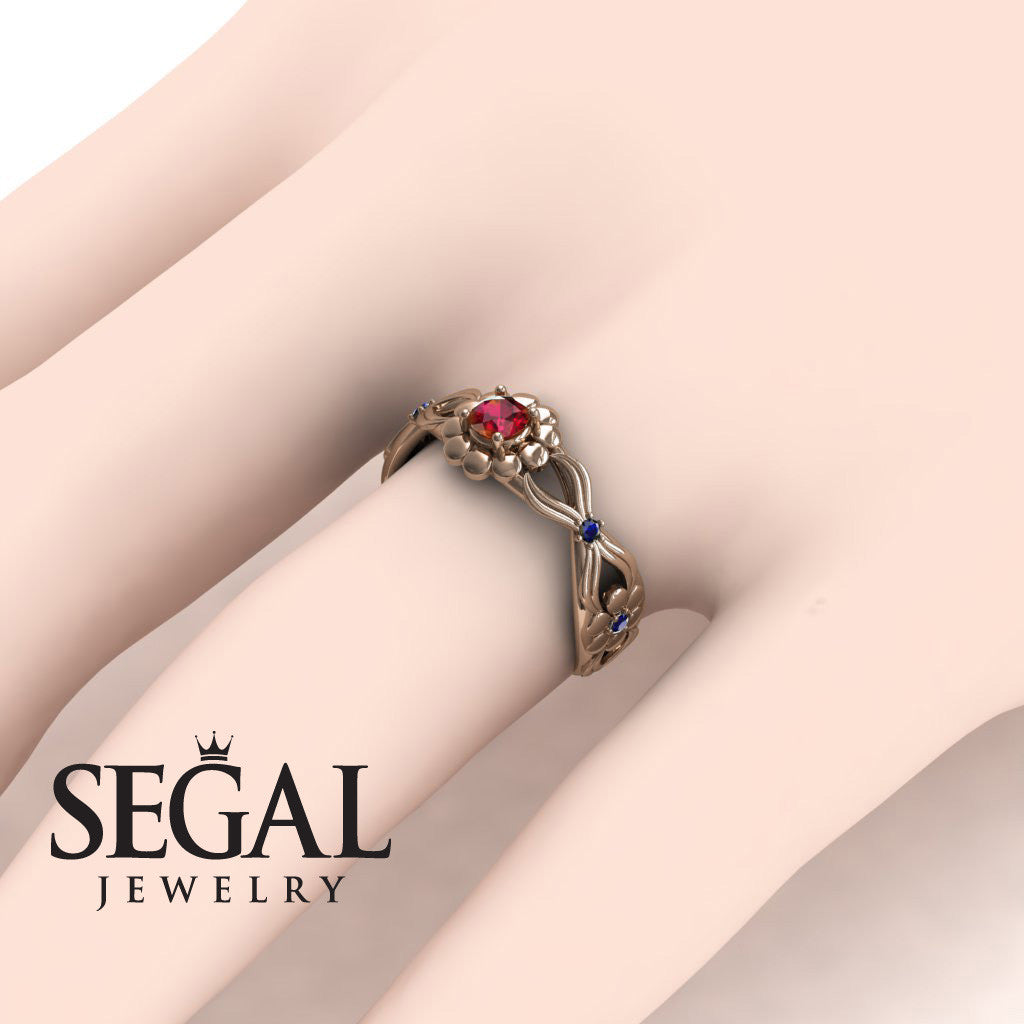 East And West flowers Ruby Wedding Ring- Mila no. 8