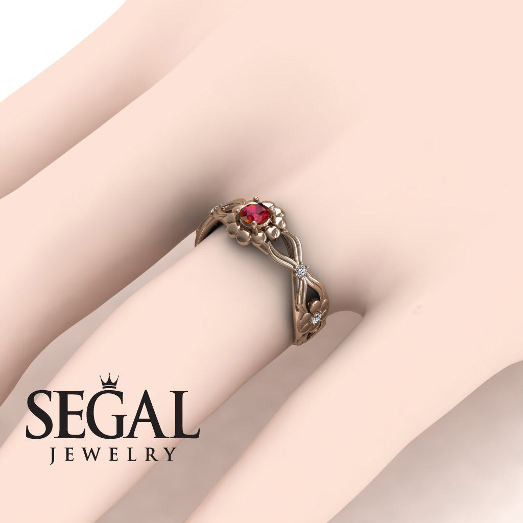 East And West flowers Ruby Ring- Mila no. 5