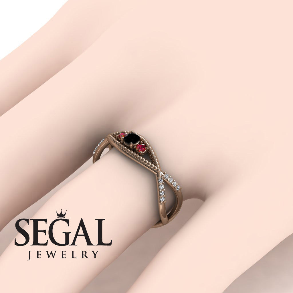 The 3 Stones Dainty Black Diamond Ring- Mia no. 11 – Segal Jewelry