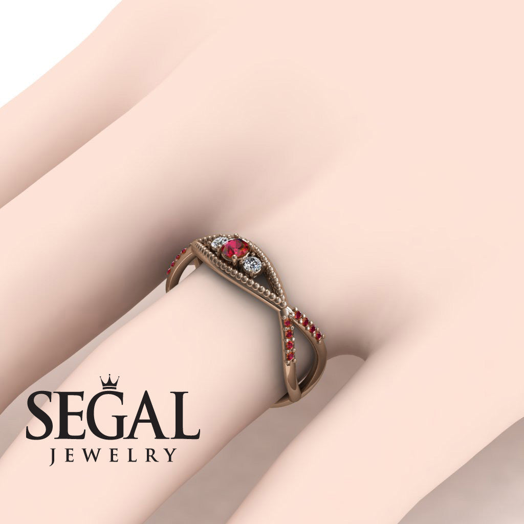 The 3 Stones Dainty Ruby Ring- Mia no. 5 – Segal Jewelry