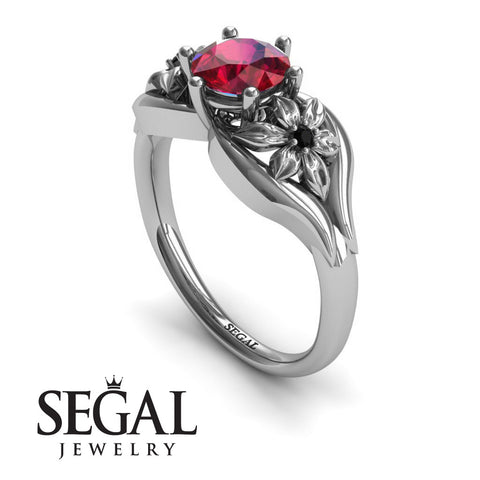 Two Seasons Flower Ring Ruby Ring- Bella no. 12