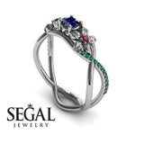 The Swift Flowers Blue Sapphire Ring- Charlie no. 9