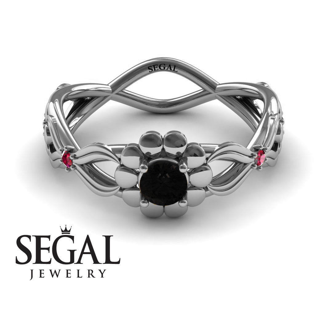 East And West flowers Black Diamond Ring- Mila no. 12