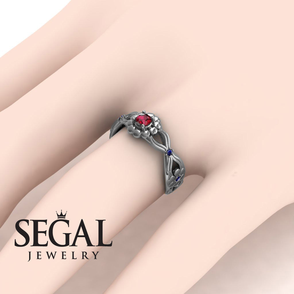 East And West flowers Ruby Ring- Mila no. 9