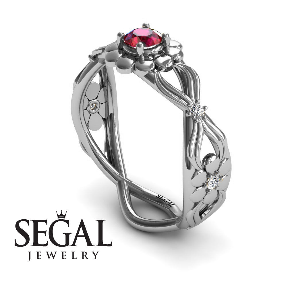 East And West flowers Ruby Ring- Mila no. 6