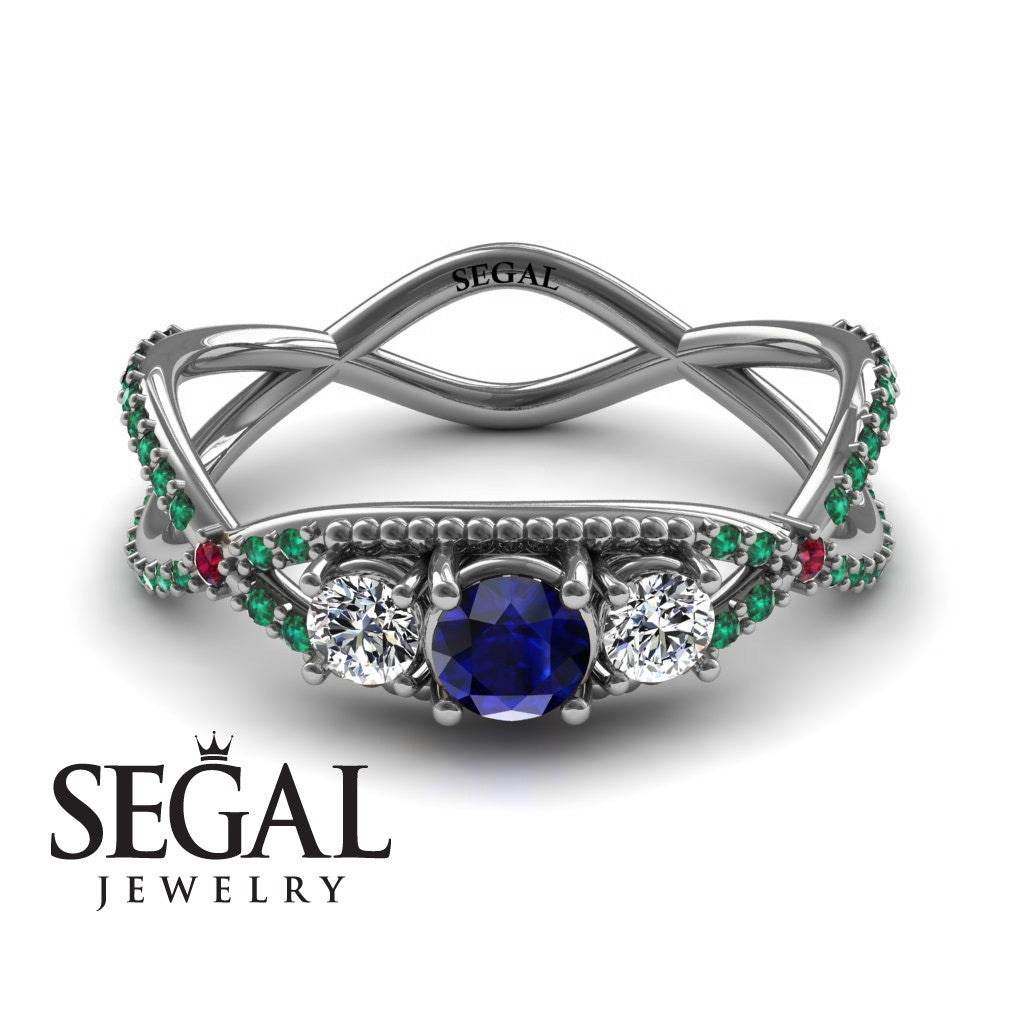 3 Stones Denity Blue Sapphire Ring- Natalie no. 12