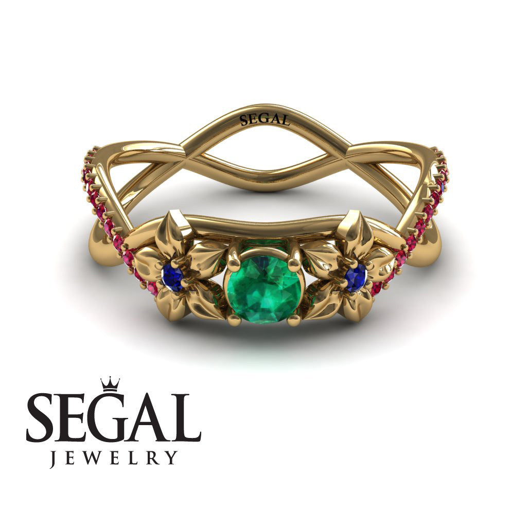 The Swift Flowers Green Emerald Ring- Charlie no. 10