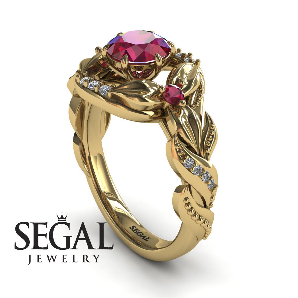 d9222e8c1 Nature Inspired Engagement Ring - 14K Yellow Gold 1 Carat Round Cut ...
