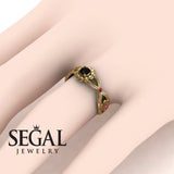 East And West flowers Black Diamond Ring for her- Round Cut - Mila no. 10