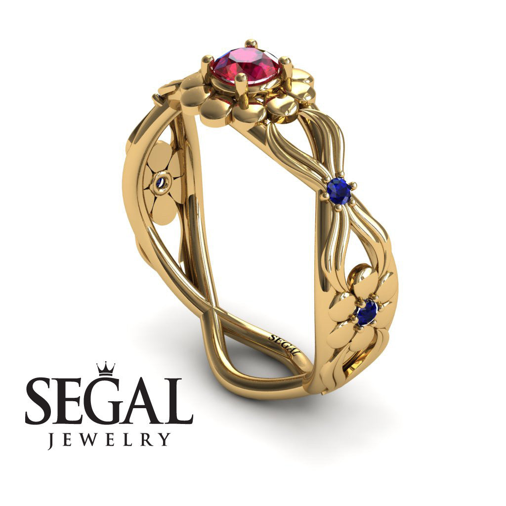 East And West flowers Ruby Ring- Mila no. 7