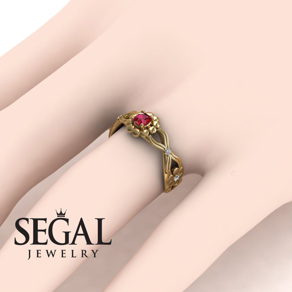 East And West flowers Ruby Ring- Mila no. 4
