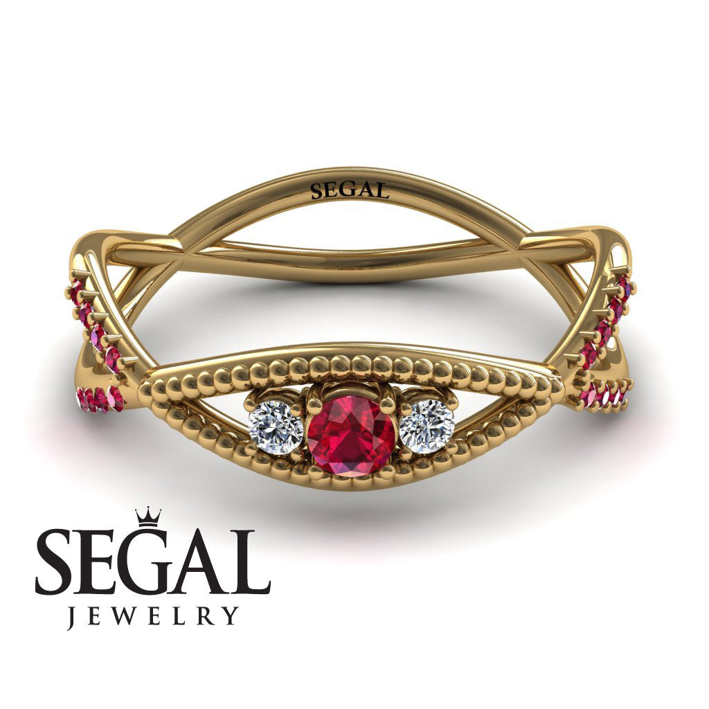 The 3 Stones Dainty Ruby Ring- Mia no. 4