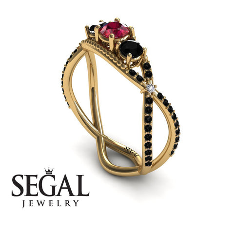 3 Stones Denity Ruby Ring- Natalie no. 7