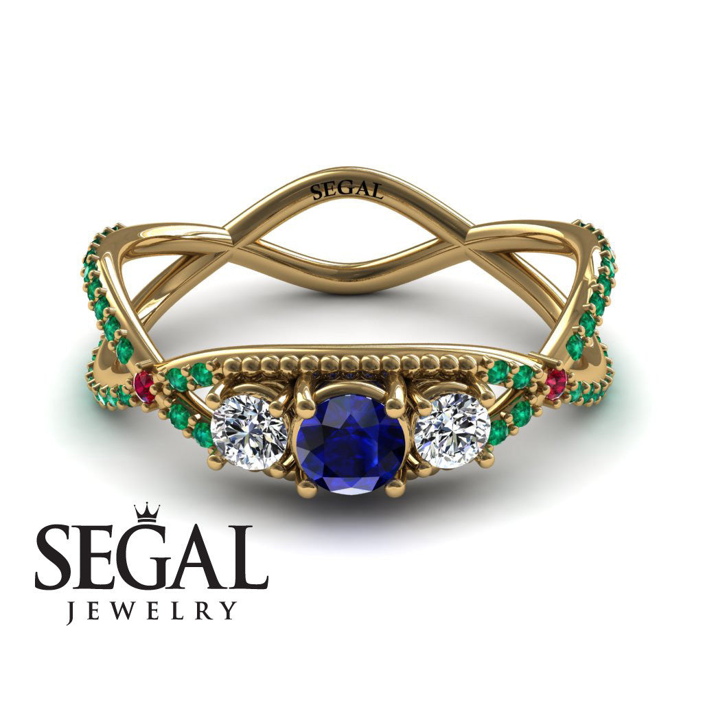 3 Stones Denity Blue Sapphire Ring- Natalie no. 10
