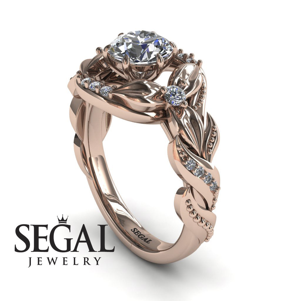 Curly Flower Branches Diamond Ring - Isabelle no. 2