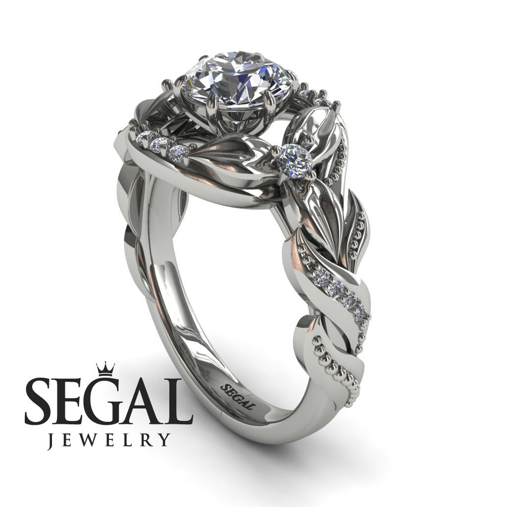nature inspired floral engagement ring isabelle no 3 - Nature Inspired Wedding Rings