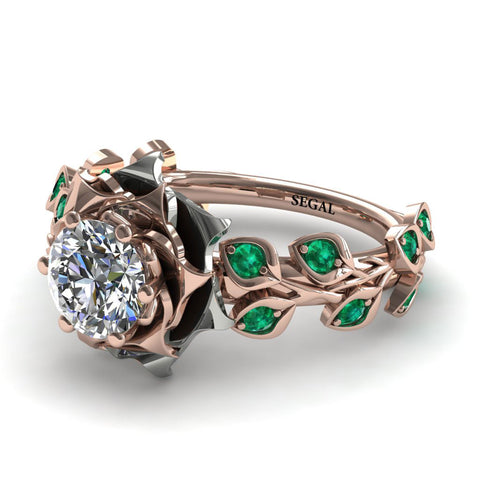 Flower And Leaves Engagement Ring - Diana no. 15