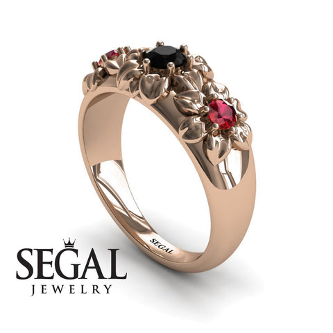 Three Stones And Flowers Black Diamond Ring- Sarah no. 11
