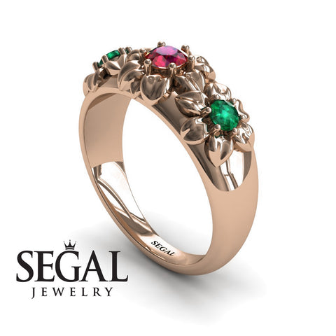 Three Stones And Flowers Ruby Ring- Sarah no. 8